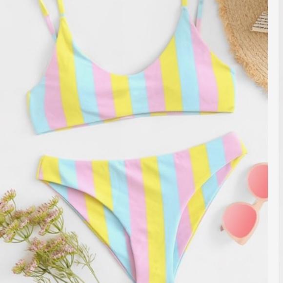 2fe2029c41 SHEIN Swim   Pastel Stripes Bikini   Poshmark